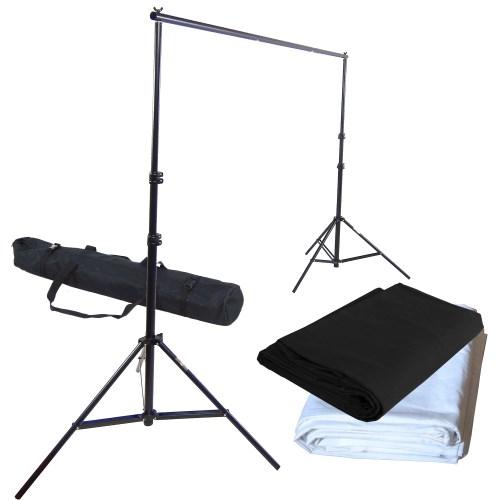 set support de fond studio tr pied pro dynasun fs901 tissu blanc noir 2 8x4mt ebay. Black Bedroom Furniture Sets. Home Design Ideas
